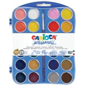 CAJA 24 ACUARELAS CARIOCA 30MM + PINCEL COLORES