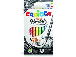 ROTULADORES CARIOCA SUPER BRUSH 10 COLORES PINCEL