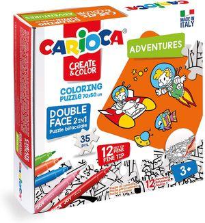 PUZZLE CARIOCA 35P COLOREAR ADVENTURES 3 AÑOS