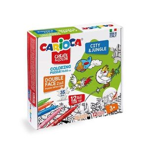 PUZZLE CARIOCA 35P COLOREAR CITY & JUNGLE 3 AÑOS