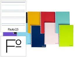 CUADERNO FOLIO 2 RAYAS 2,5MM 80H ESPIRAL LIDERPAPEL BF03 08239