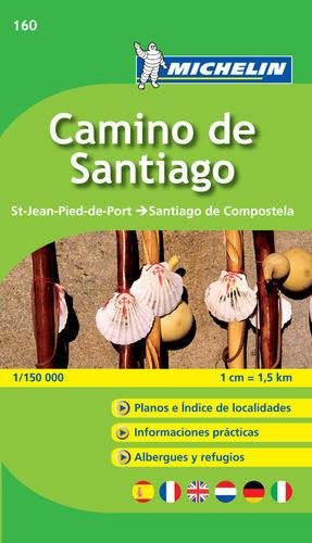 160 MAPA-GUÍA CAMINO DE SANTIAGO MICHELIN CAMINO FRANCES