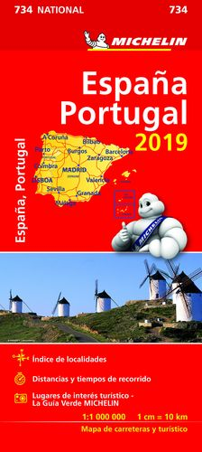 734 MAPA NATIONAL ESPAÑA - PORTUGAL 2019 MICHELIN