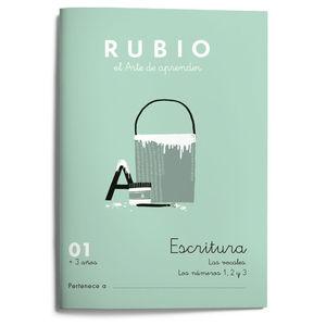 01. CUADERNO ESCRITURA RUBIO ED 2021. VOCALES SUELTAS, NUMEROS 1 2 3