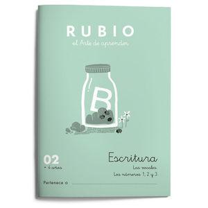 02. CUADERNO ESCRITURA RUBIO. VOCALES SUELTAS, NUMEROS 1 2 3