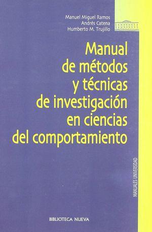 MANUAL DE MÉTODOS Y TÉCNICAS DE INVESTIGACIÓN EN CIENCIAS DEL COMPORTAMIENTO