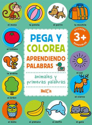 PEGA Y COLOREA ANIMALES Y PRIM PALABRAS